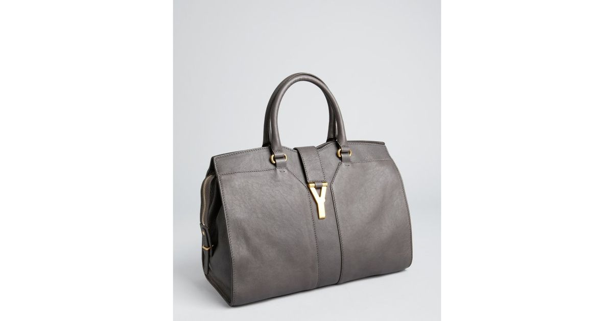 Saint laurent Charcoal Leather Cabas Chyc Tote Bag in Gray ...