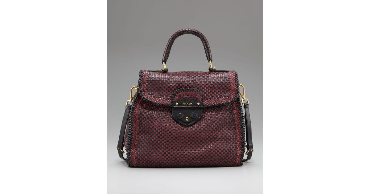 06154fe284 Lyst - Prada Madras Woven Top-handle Satchel