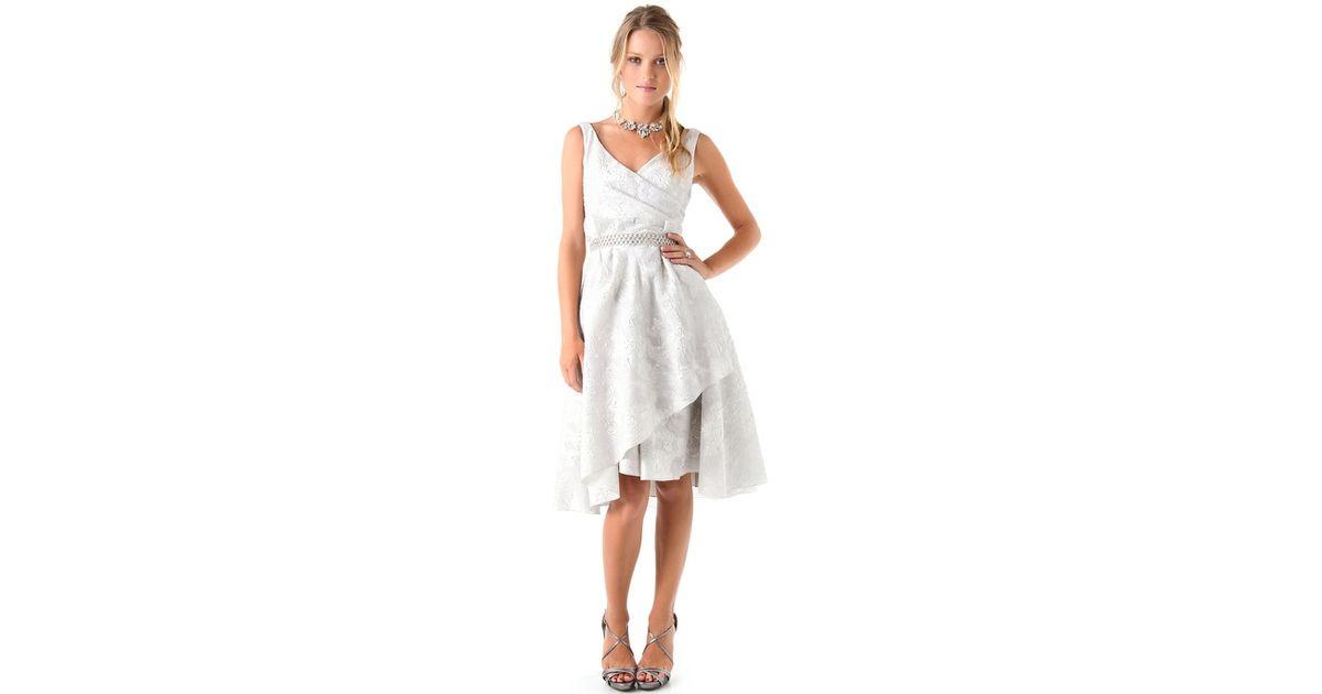 a75eebb90868 Lyst - Lela Rose Jacquard Dress with Beaded Belt in White
