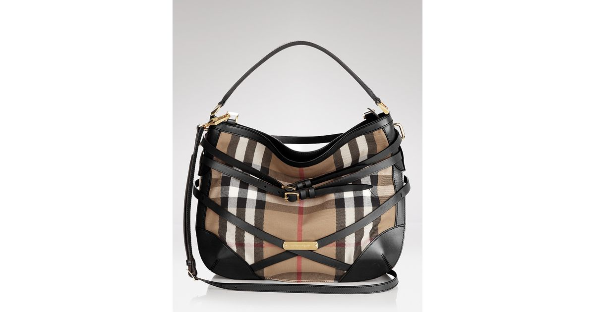 d17363813455 Lyst - Hobo Burberry Bridle House Check Small Dutton Bag in Black