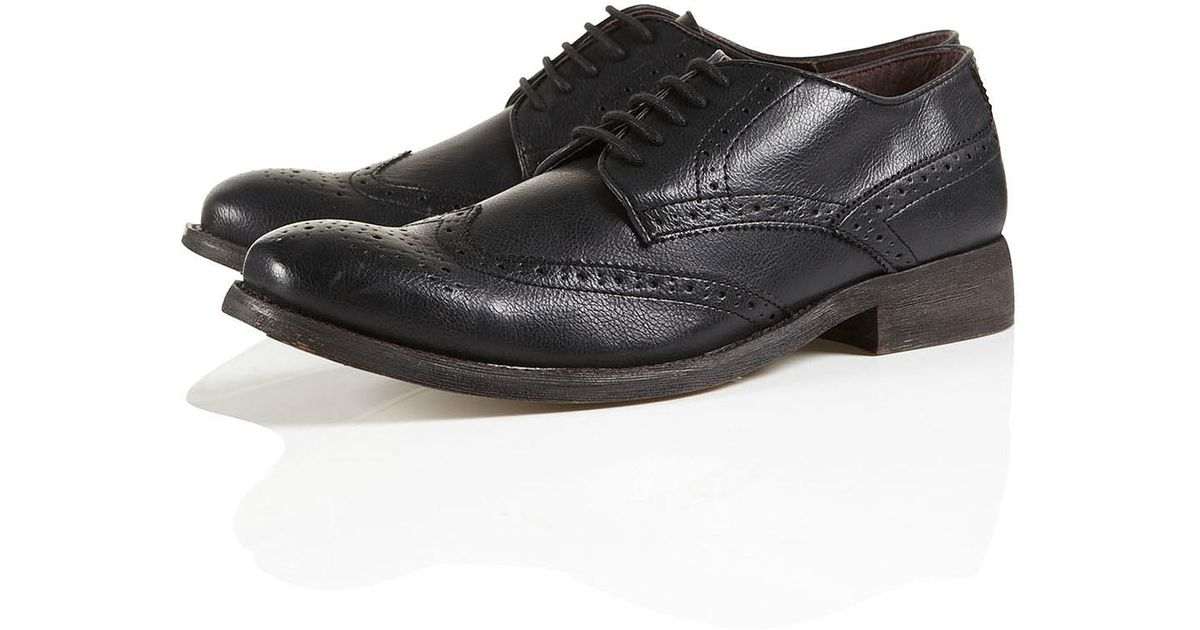 topman black leather oxford brogues in black for lyst