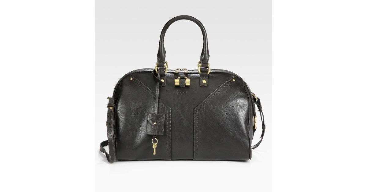 Saint laurent Ysl Muse Bowling Bag in Brown (chocolate) | Lyst