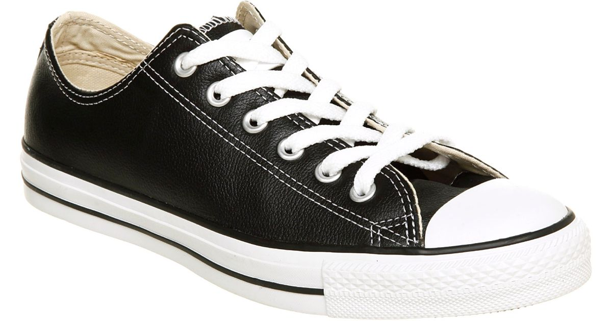 Converse All Star Leather Ox Low Black Leather in Black for Men - Lyst 03a9113fe