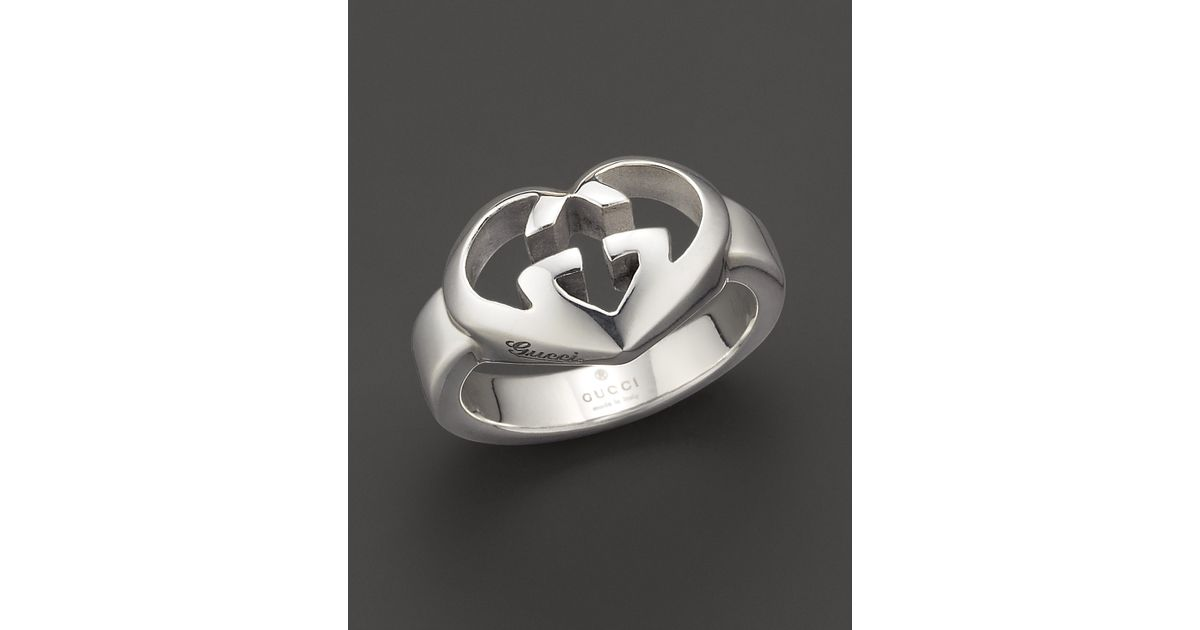 608694cee Gucci Sterling Silver Engraved Gg Heart Ring in Metallic - Lyst