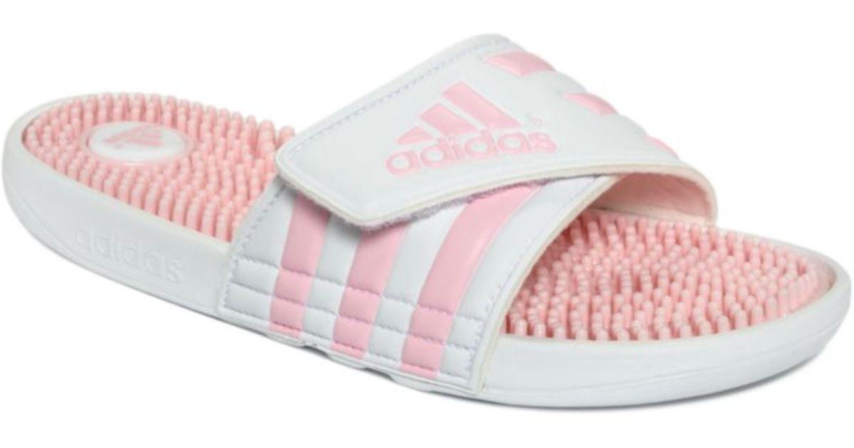 lyst adidas slide massage sandals in pink