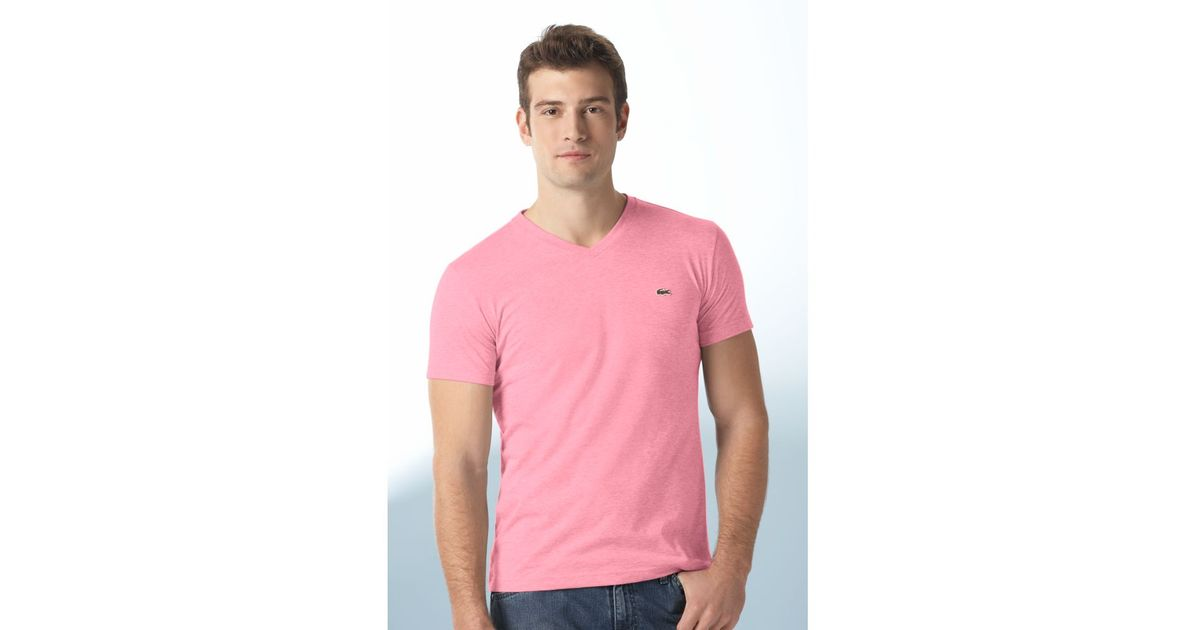 8f1367afd312 Lacoste Pima Cotton V Neck Tee Shirt in Pink for Men - Lyst