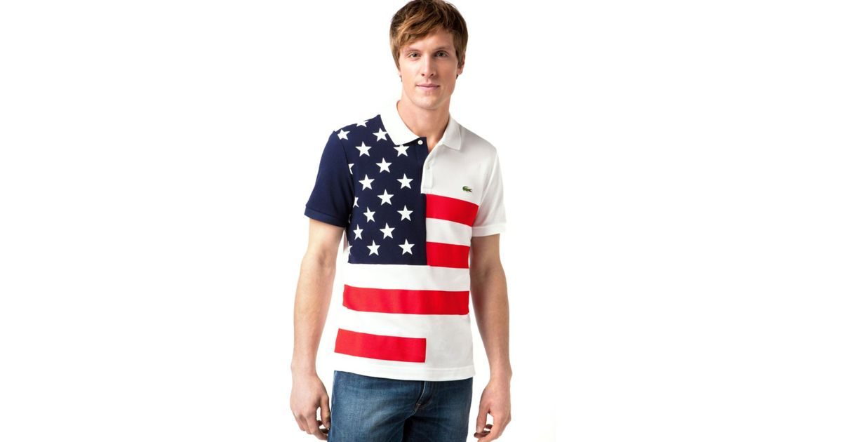 a7d5dc80416bc Lyst - Lacoste Usa Flag Pique Polo Shirt in Blue for Men