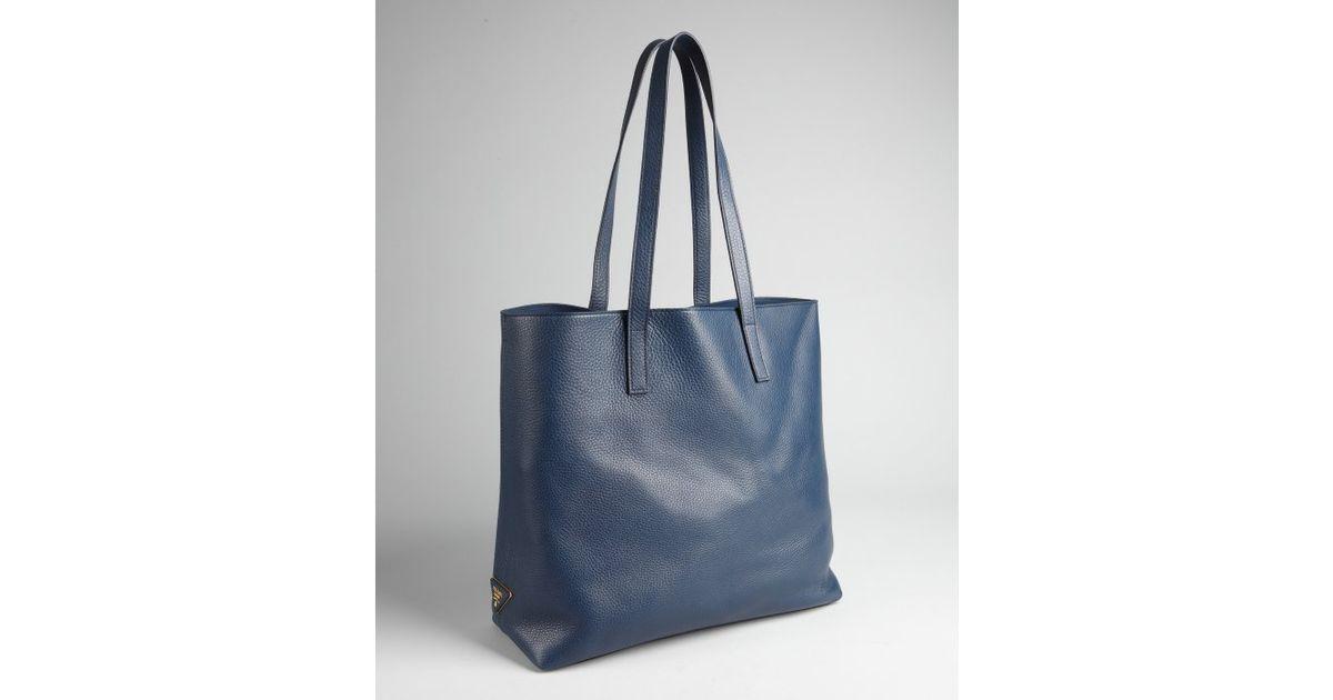8cdd1fa17e29 ... best lyst prada baltic pebbled leather shopper tote in blue 95d40 82993