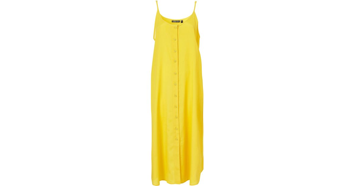 7bab6012deaf6e TOPSHOP Strappy Button Midi Dress in Yellow - Lyst