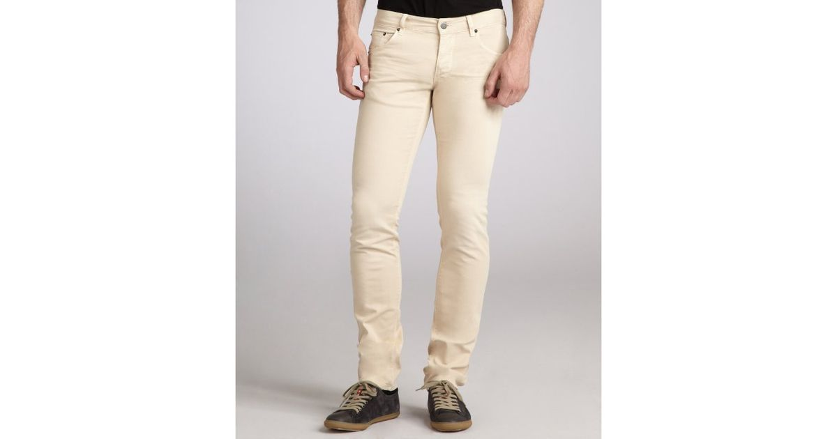 Prada Sand Stretch Cotton Twill Straight Leg Jeans in Beige for ...