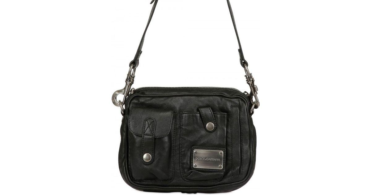 e6a994ddf798 Lyst - Dolce   Gabbana Washed Sheepskin Shoulder Bag in Black for Men
