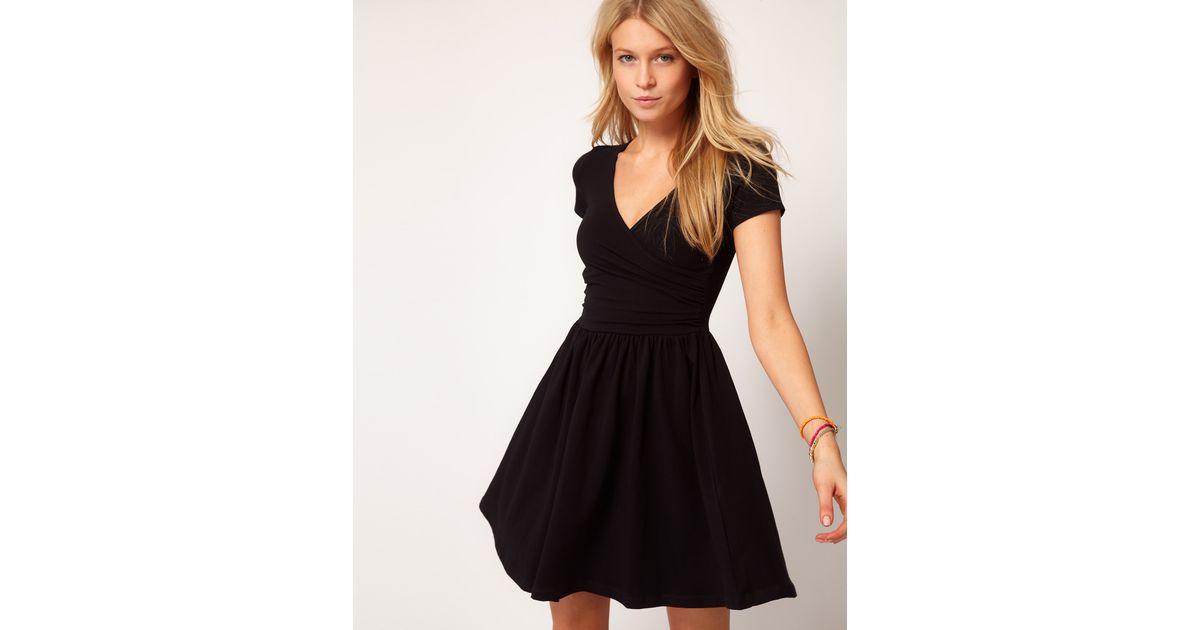 62c7fba127 Lyst - ASOS Skater Dress with Ballet Wrap in Black