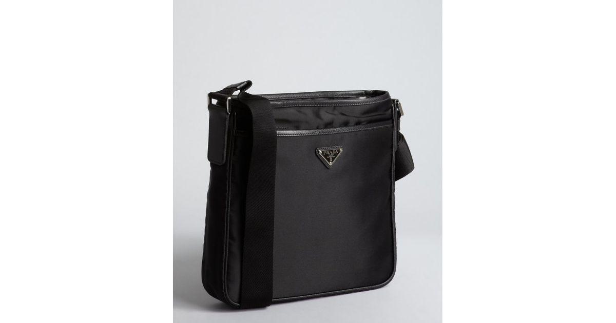 0bad320a150a ... cheap lyst prada black nylon logo mini messenger bag in black for men  7b259 d24e7 ...
