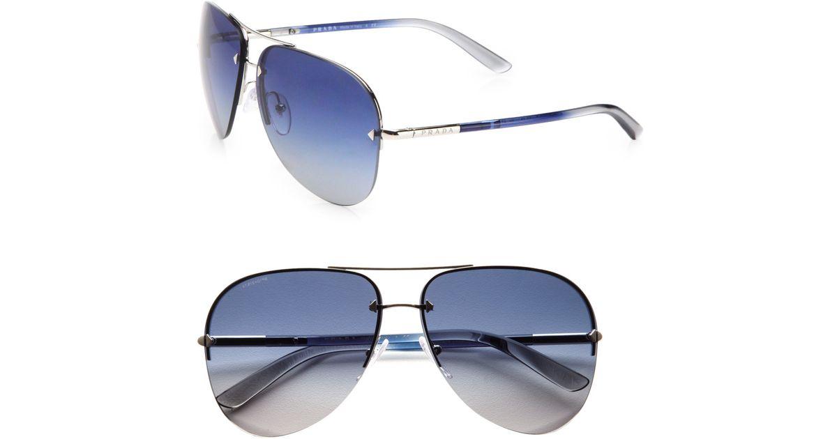 3709fc32bba2 Prada Tubular Aviator Sunglasses in Metallic for Men - Lyst