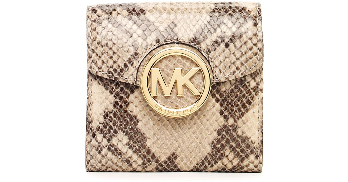 2c6bba39880d ... where can i buy lyst michael michael kors fulton pythonembossed leather  bifold wallet angora in brown