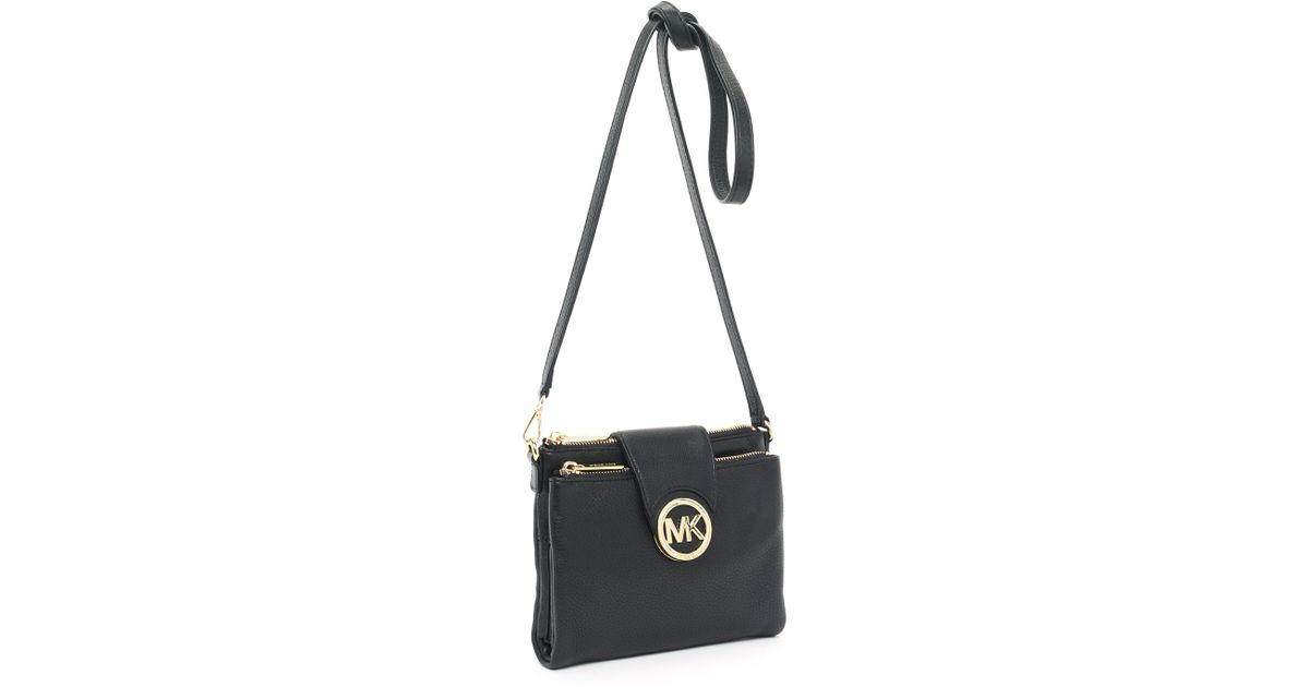 84fcd202aae1 MICHAEL Michael Kors Fulton Leather Cross-Body Bag in Black - Lyst