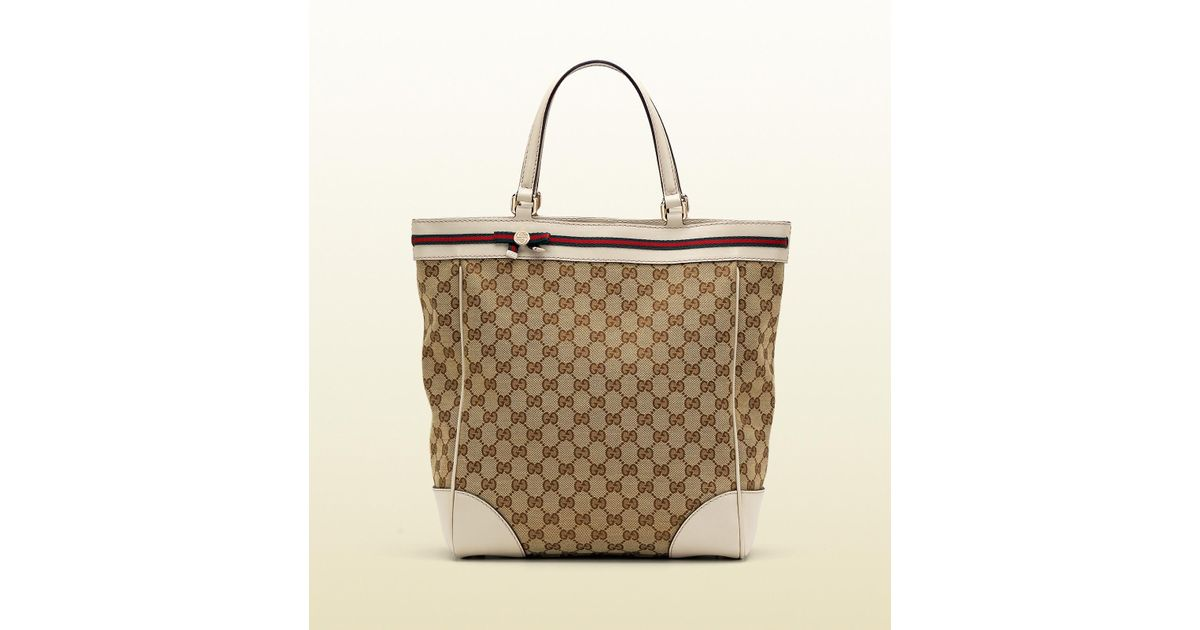 61272fc1b7c0 Gucci Mayfair Medium Tote with Web Bow Detail and Interlocking G Detail in  Natural - Lyst