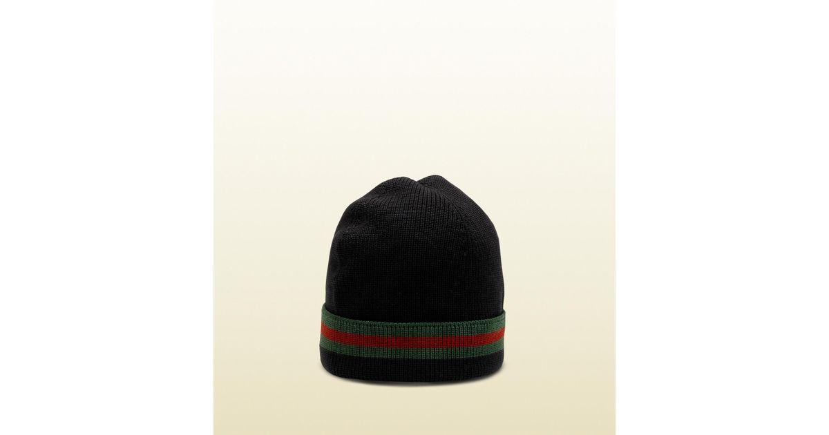 8d2502dc04df7 Lyst - Gucci Knit Wool Web Hat in Black for Men