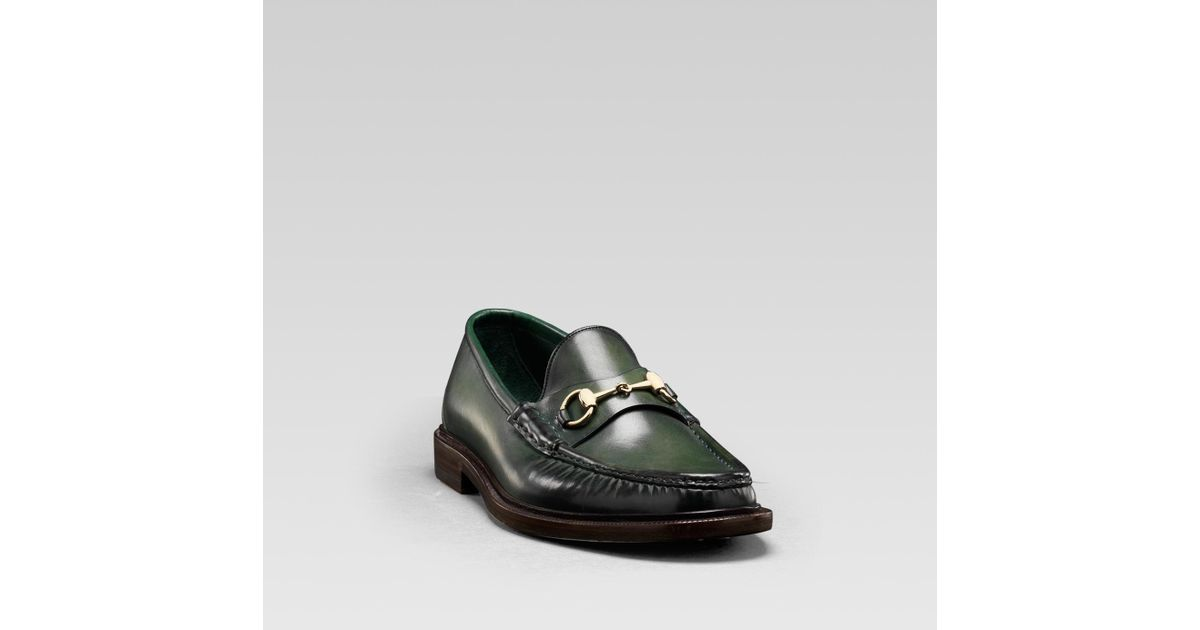 fce4dfae554 Lyst - Gucci Mens Horsebit Moccasin in Dark Green Hand Shaded Leather  Special Edition in Green for Men