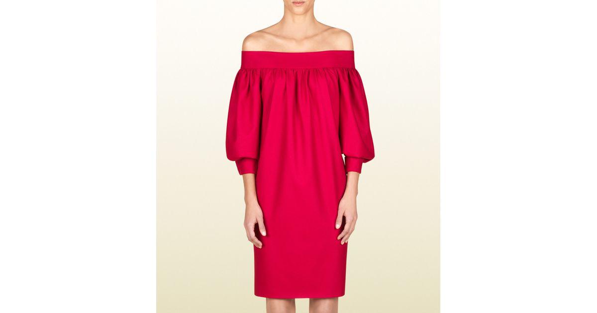 c94c6ffc9bc9 Lyst - Gucci Off Shoulder Dress in Red