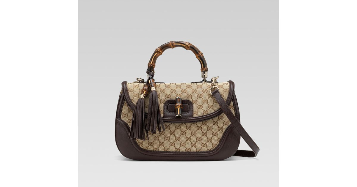 fe09f9b8d666 Gucci New Bamboo Original Gg Canvas Top Handle Bag in Natural - Lyst