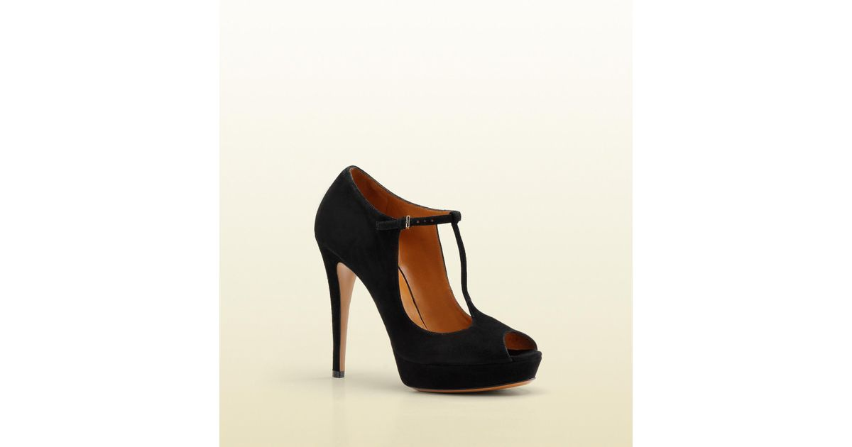 927ae5d77d8 Lyst - Gucci Betty Tstrap Opentoe High Heel Platform Pump in Black