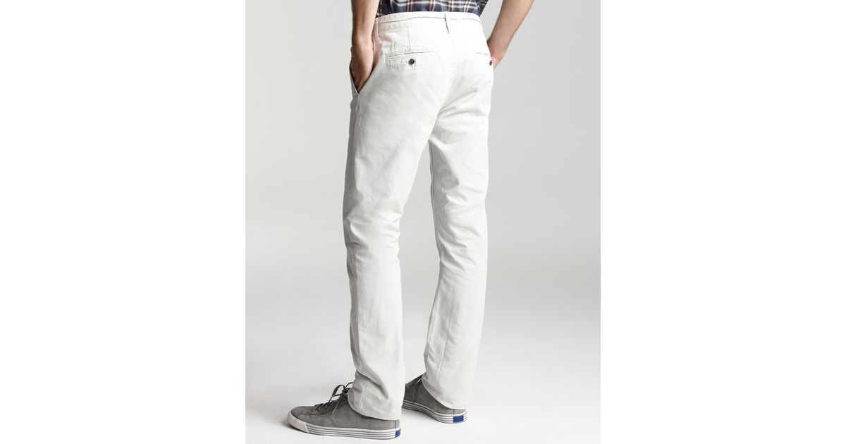 Burberry Denim Style Chino Pants in White for Men | Lyst