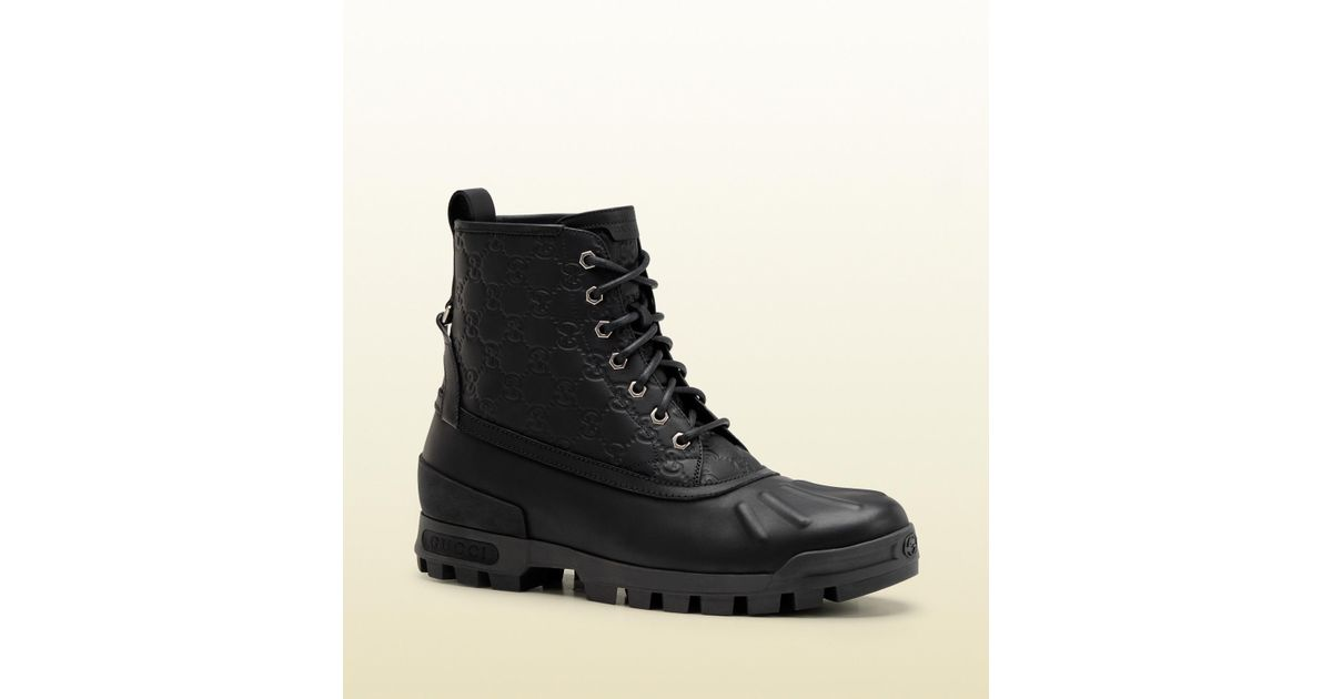 f4dd7ccaa537 Lyst - Gucci Lace-up Boot in Black for Men