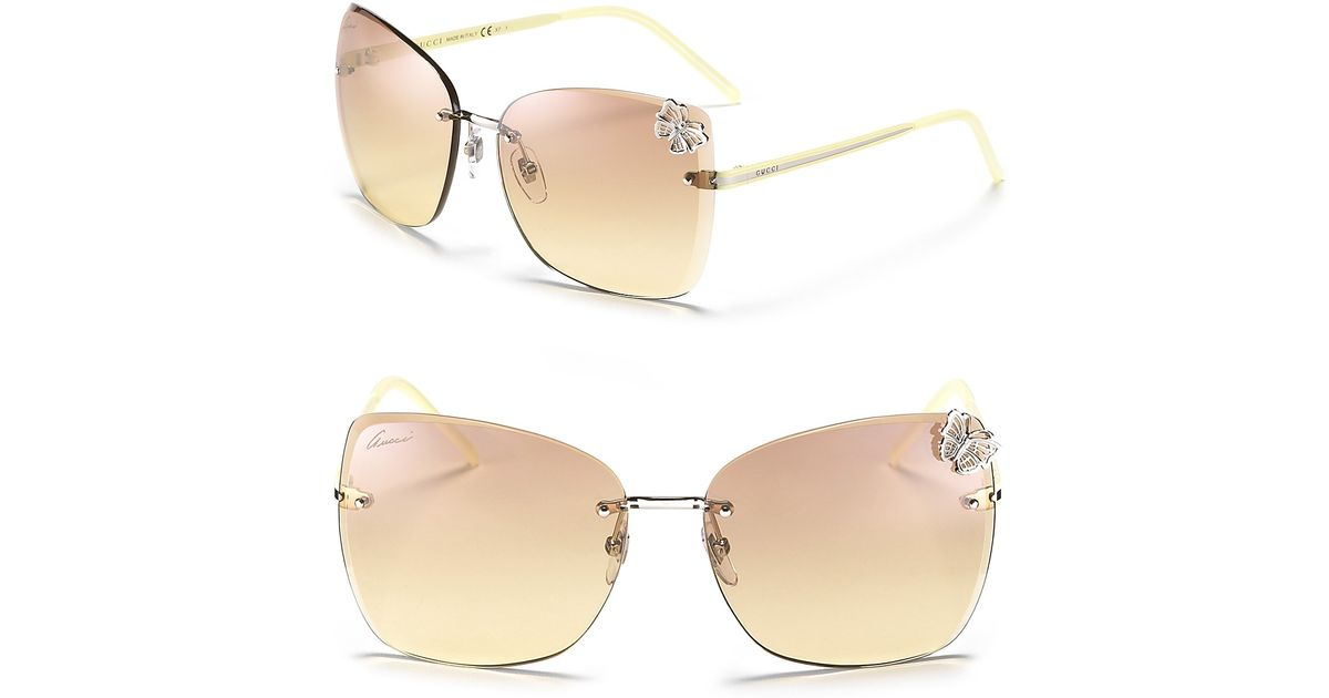 9b5971be2f Lyst - Gucci Oversized Rimless Butterfly Sunglasses in Natural