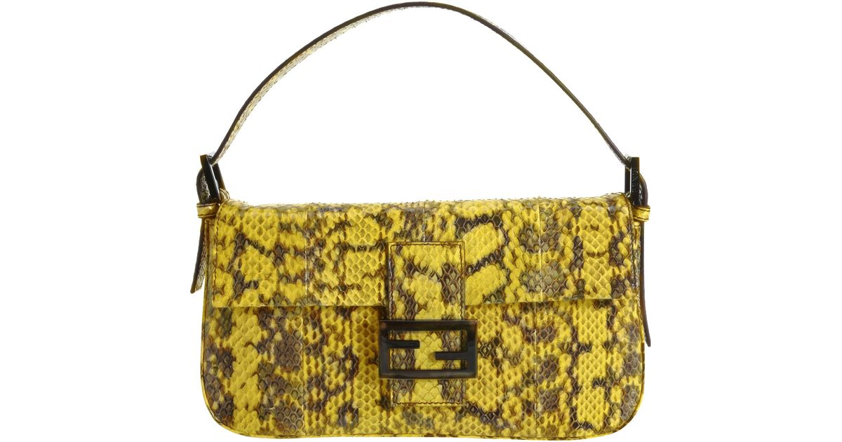 c81a753cdbcc Fendi Snakeskin Baguette Bag in Yellow - Lyst