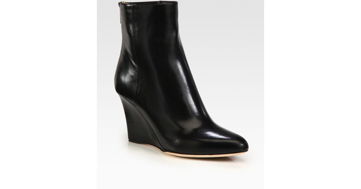 jimmy choo mayor leather wedge ankle boots in black lyst