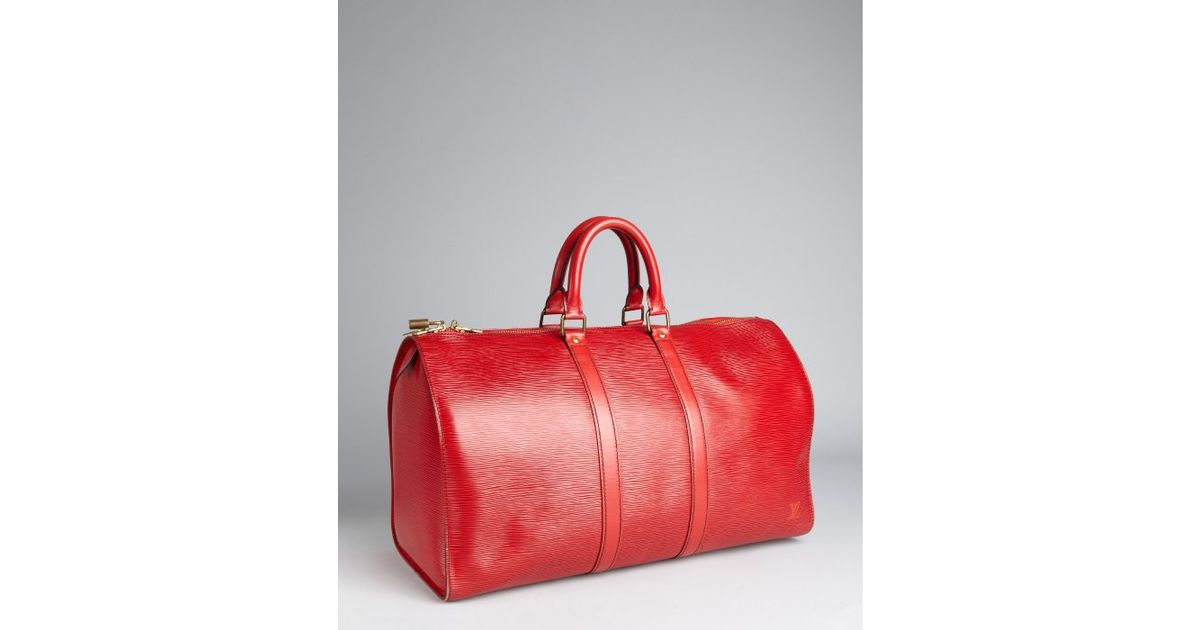 d0db5a9efe6a Louis Vuitton Red Epi Leather Keepall 45 Vintage Duffel in Red - Lyst