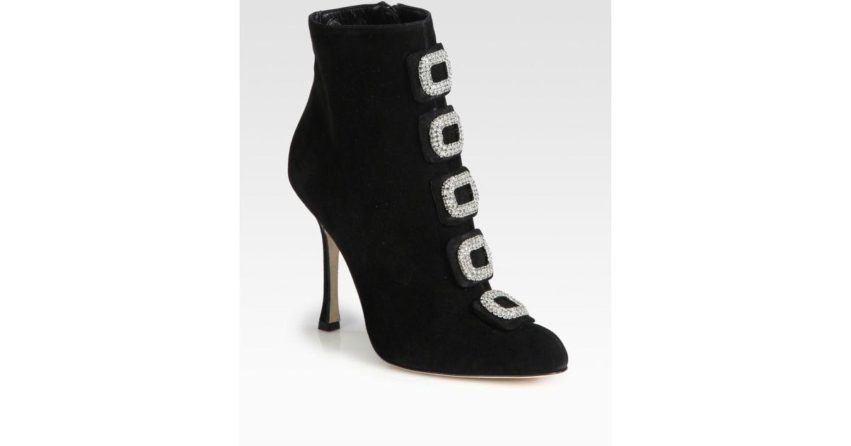 free shipping genuine Manolo Blahnik Jewel-Embellished Velvet Knee-High Boots outlet visit new cheap 2014 recommend for sale huge surprise online L326xLo