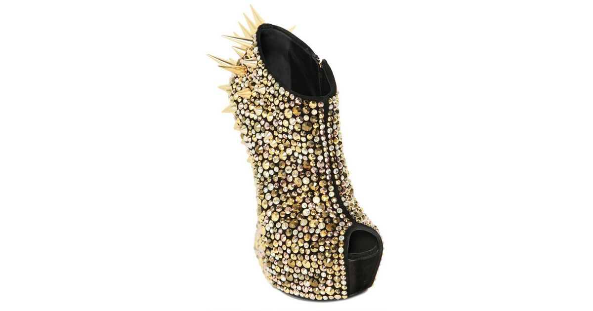 a1a510cebf0d Lyst - Giuseppe Zanotti 150mm Suede Spiked Sculptural Wedges in Black