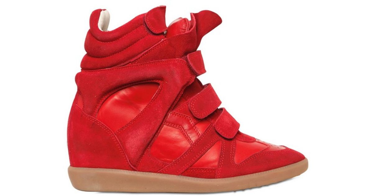 5e6e28f198 Isabel Marant Bekett Suede Wedge Sneakers in Red - Lyst