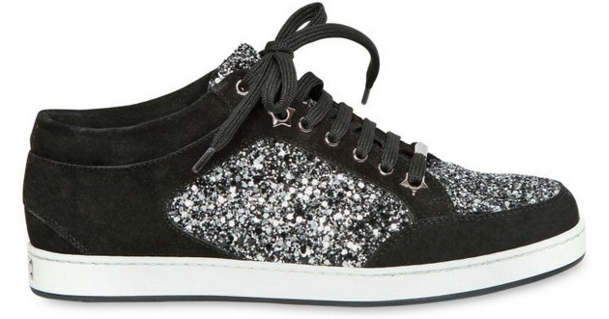 4bef2b635c6 Lyst - Jimmy Choo 20mm Miami Coarse Glitter Suede Sneakers in Black