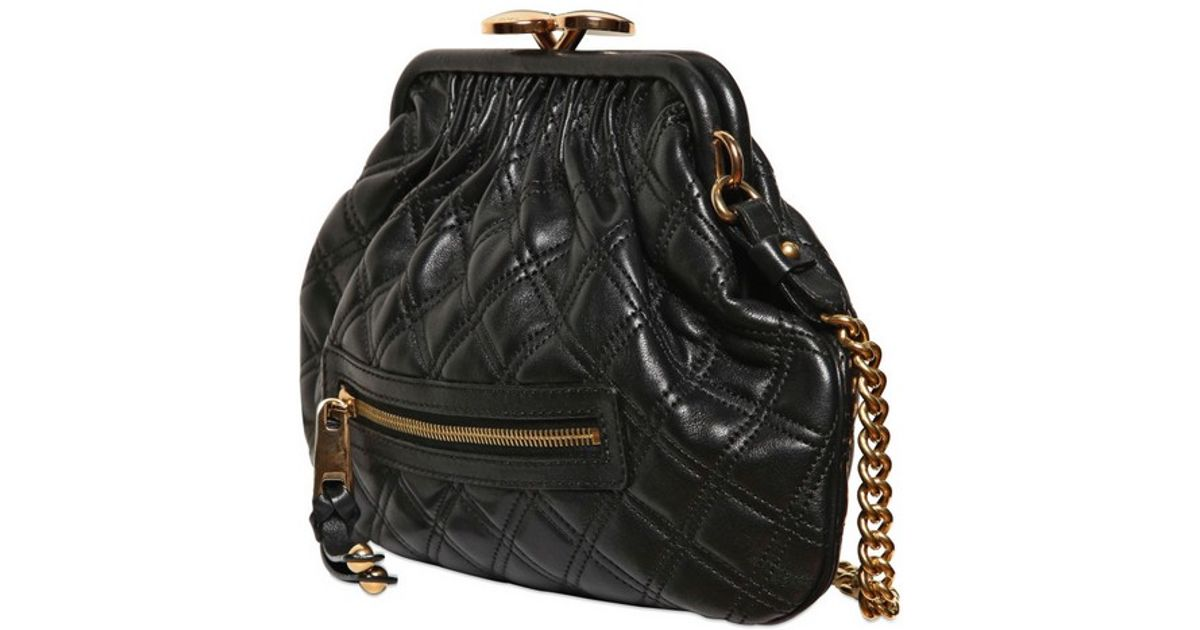 b78ebaab6827 Lyst - Marc Jacobs Little Stam Quilted Leather Shoulder Bag in Black