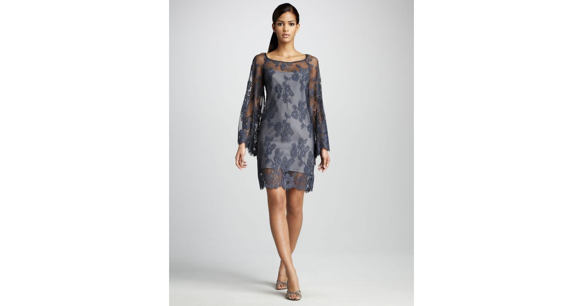Lyst - Nicole Miller Lace Overlay Cocktail Dress in Gray