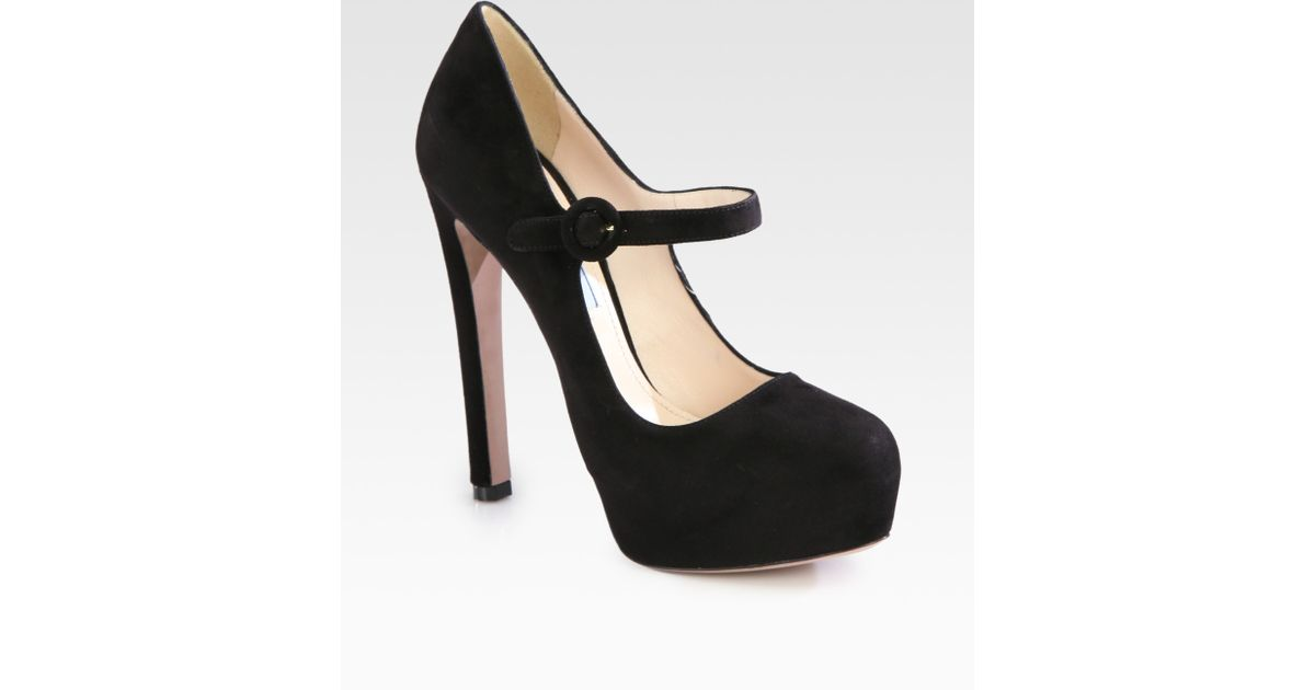 f2e4cc2303f Prada Suede Mary Jane Platform Pumps in Black