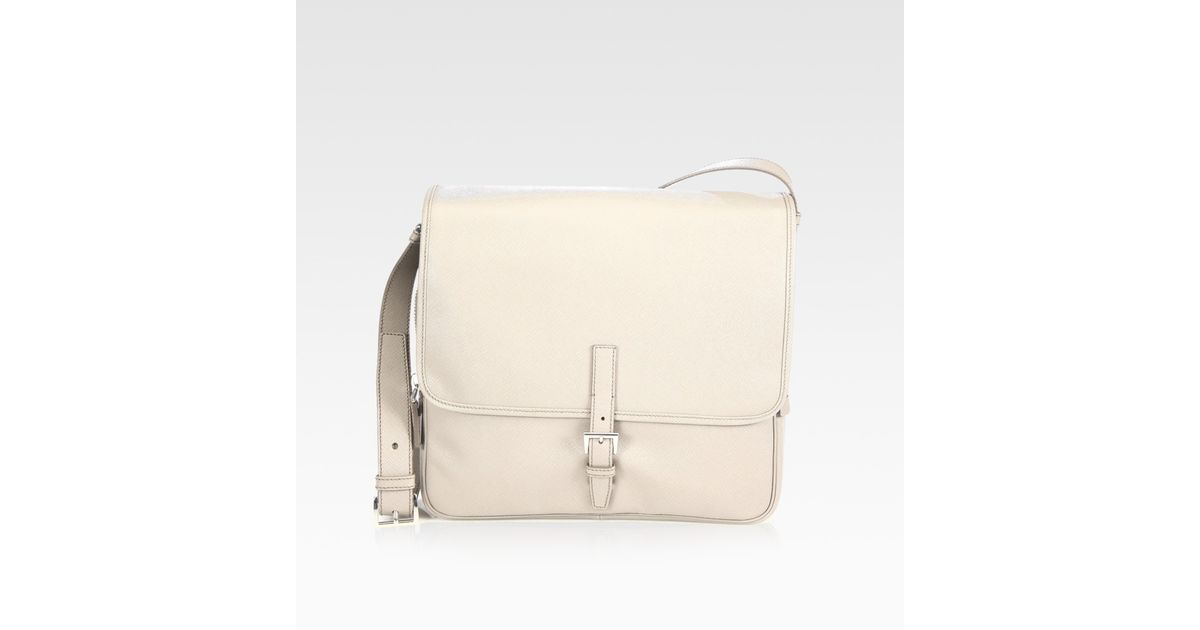 a6b69452d84d uk denmark lyst prada saffiano leather messenger bag in natural for men  f0451 47840 f4856 377d5