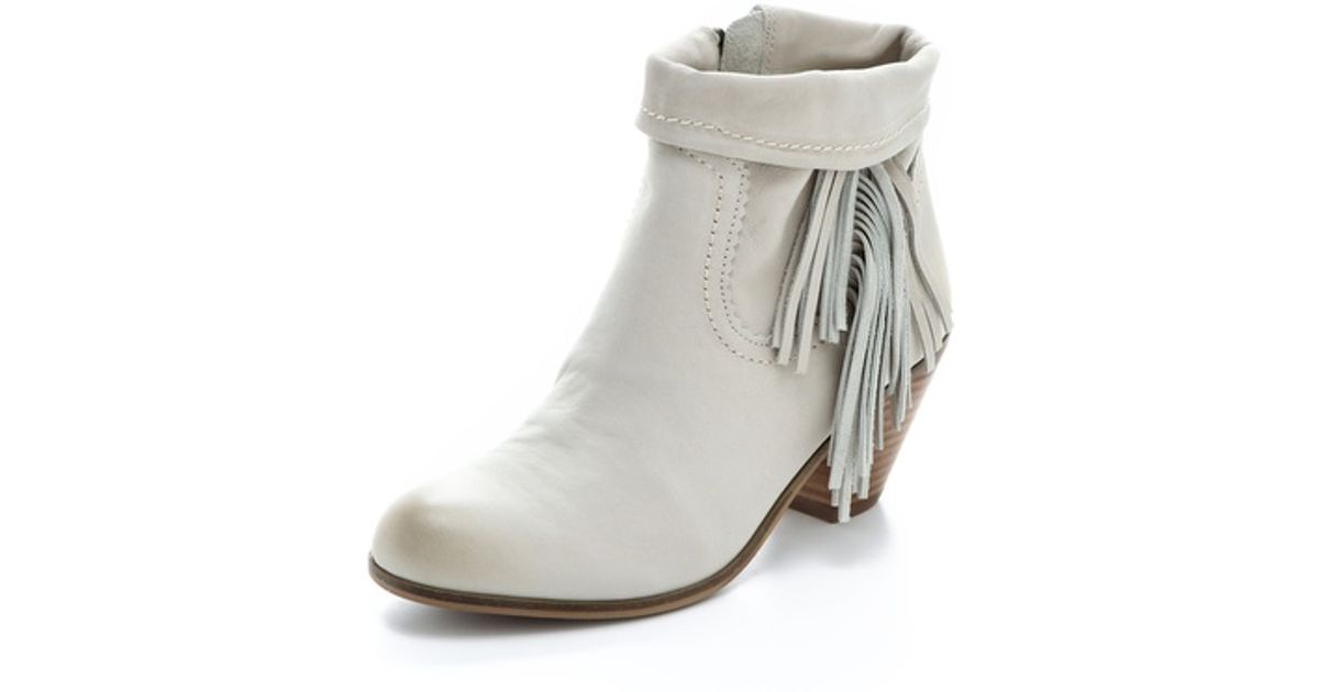 b28bc62ad970 Lyst - Sam Edelman Louie Fringe Booties in White