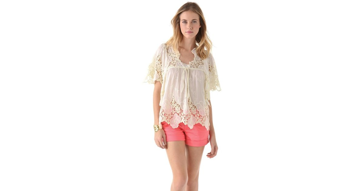 01955ff4b6b T-bags Lace Top In White · Karen Millen Lace On Lace Top In White (ivory) · Xcloth  Women Lace Floral Tops Blouse T001 Sheer Lace Tunic