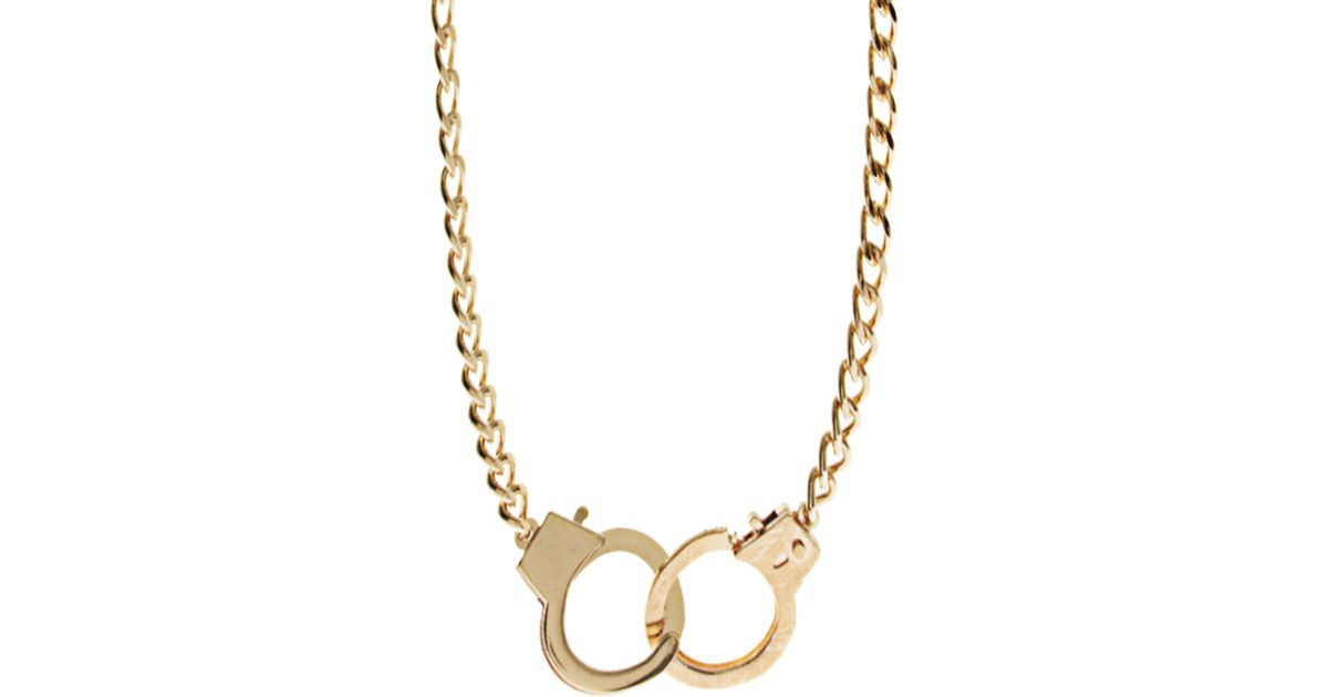 Lyst asos handcuff necklace in metallic for men aloadofball Image collections