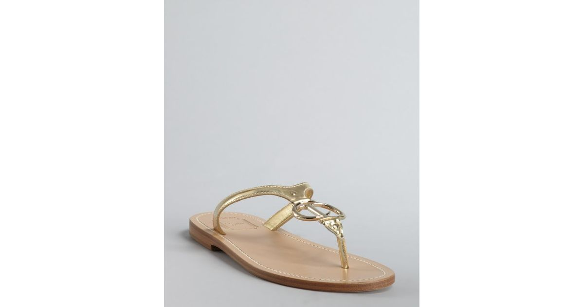 1d4892ae48d Dior Gold Leather Cd Thong Flat Sandals in Metallic - Lyst