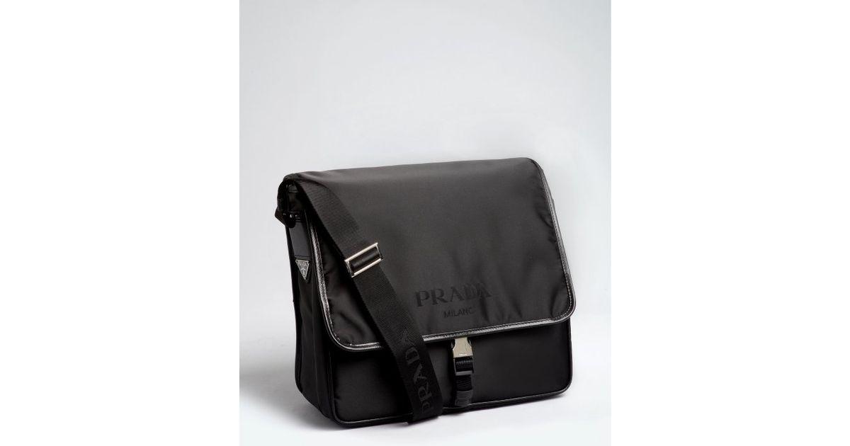 ac85c53fc9e9 ... france lyst prada black nylon saffiano leather trim messenger bag in  black for men 65c29 5634e