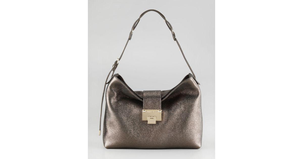 67089d39244 Lyst - Jimmy Choo Rachel Glittering Leather Shoulder Bag in Metallic