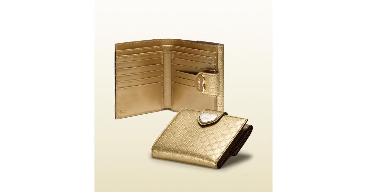 ef4d5fd65c34 Gucci Heart Flap French Wallet in Metallic - Lyst