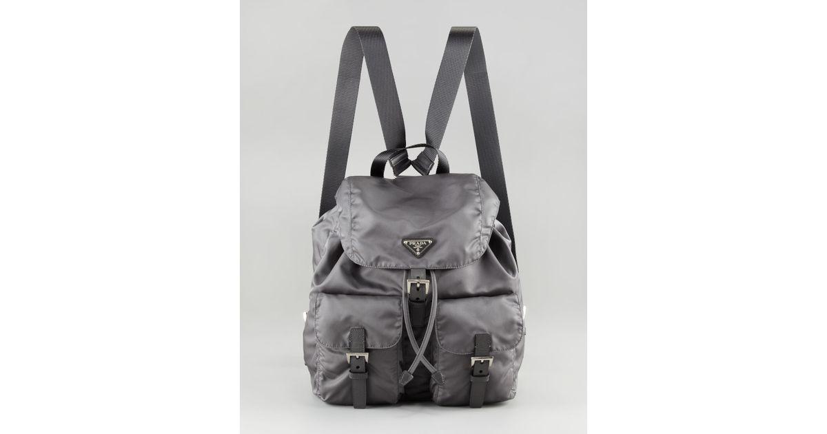 6a8b4f821660c9 Prada Vela Nylon Backpack in Gray - Lyst