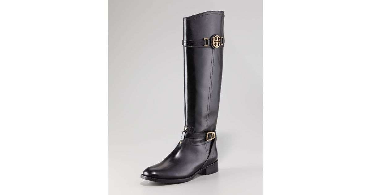 a1502278a Lyst - Tory Burch Calista Logo Leather Riding Boot Black in Black