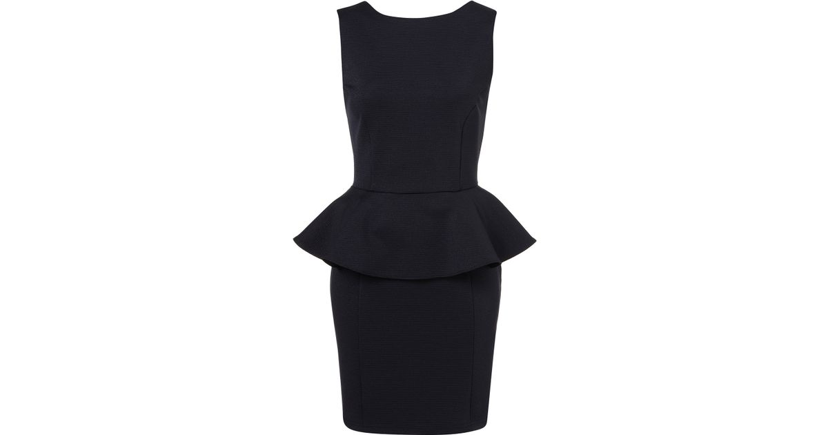 Lyst Topshop Ribbed Peplum Pencil Dress In Blue